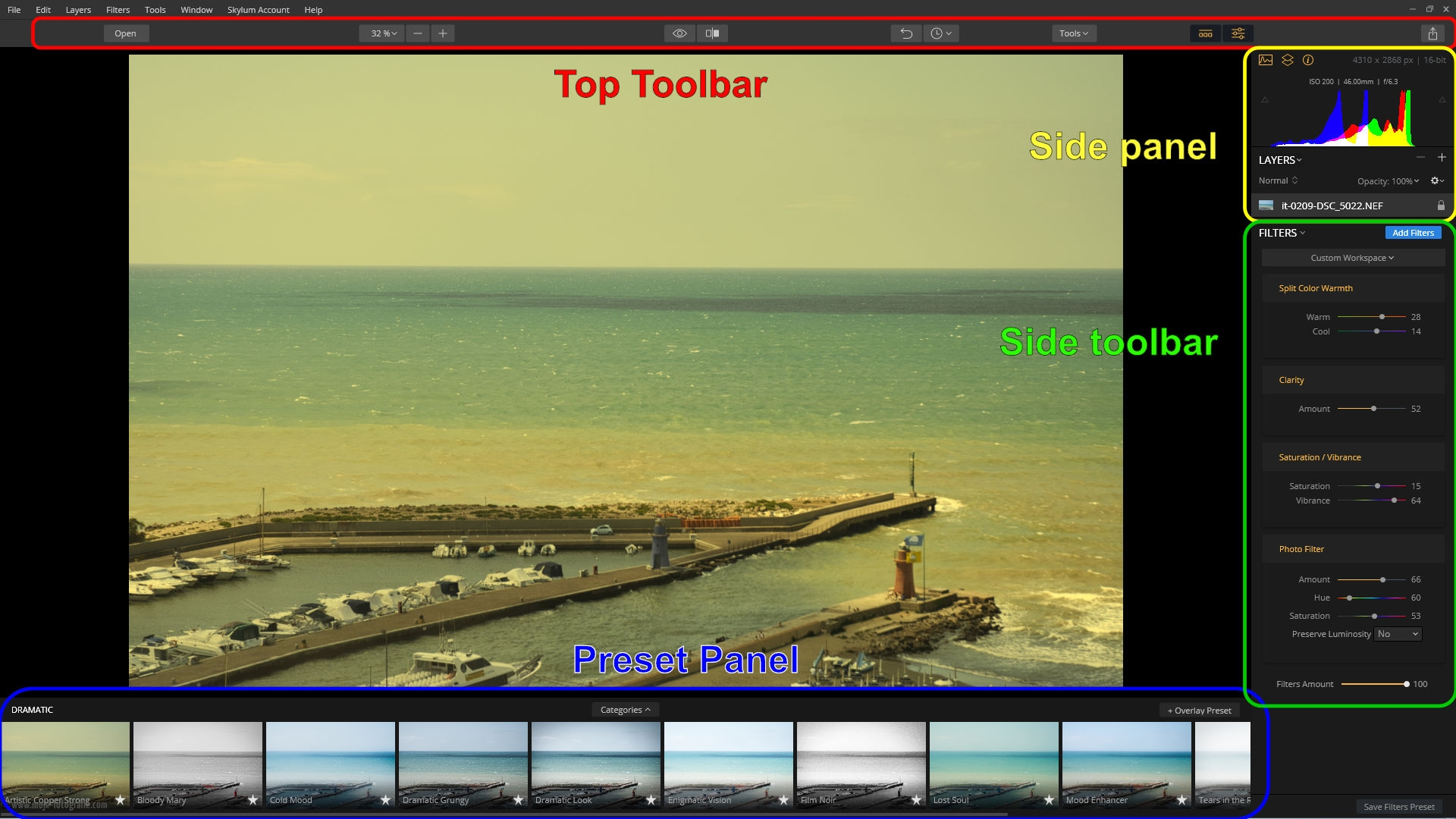 Luminar 2018 Interface Użytkownika: Top Toolbar, Side Toolbar, Preset Panel