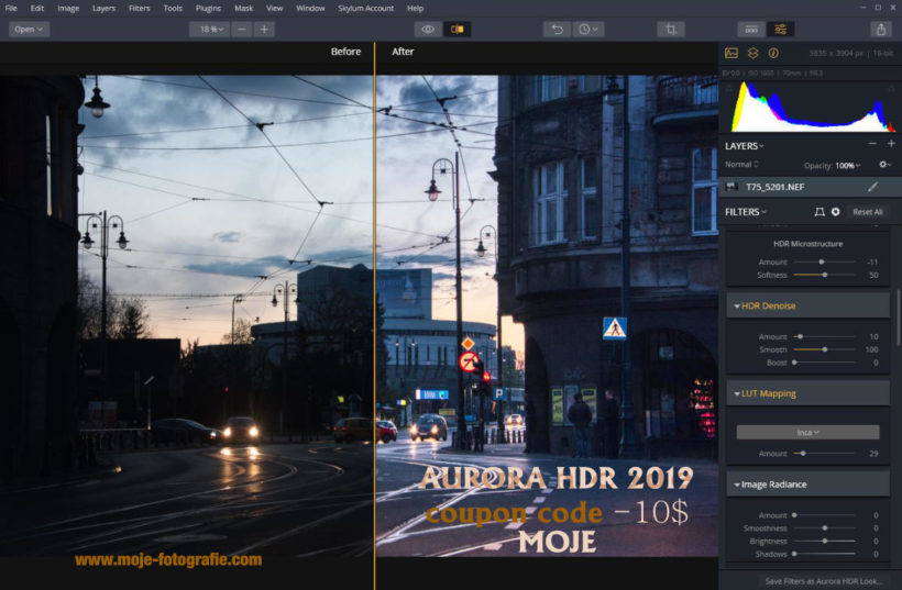 Aurora HDR 2019 free trial / or buy with coupon code: MOJE