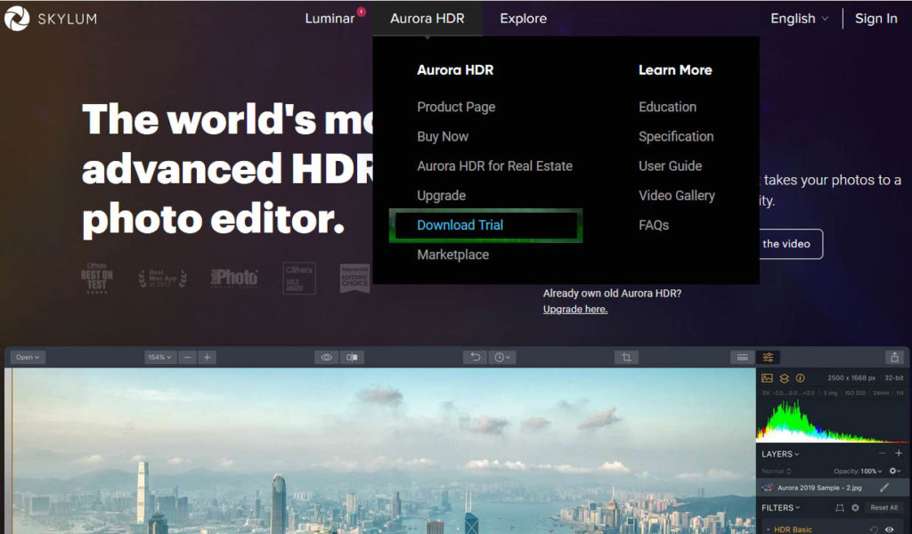 Aurora HDR software  for Mac & Windows.  - download TRIAL