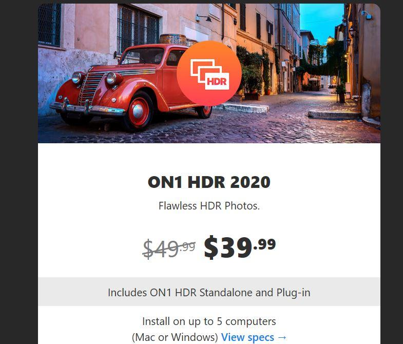 ON1 HDR 2020 new photo software from ON1