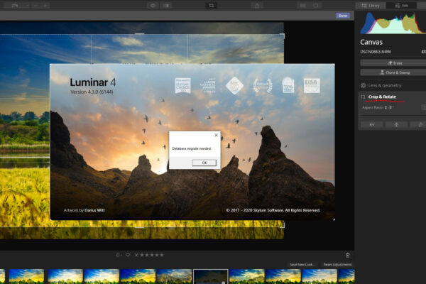 Photo software Luminar 4.3 update: search, crop, performance