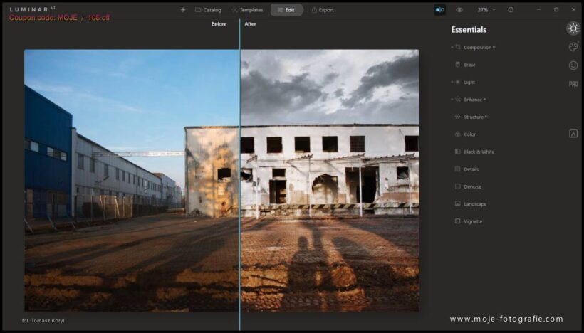 Before after - Luminar Ai LUT, Filtry LUT Mapping Colour Lookup Tables Mood