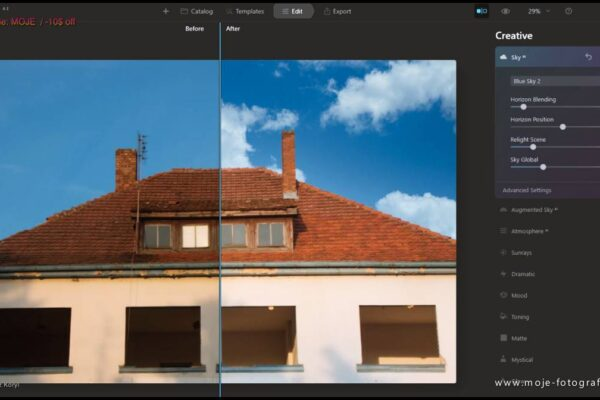 Luminar Ai Sky replace before / after - www.moje-fotografie.com - coupon code: MOJE