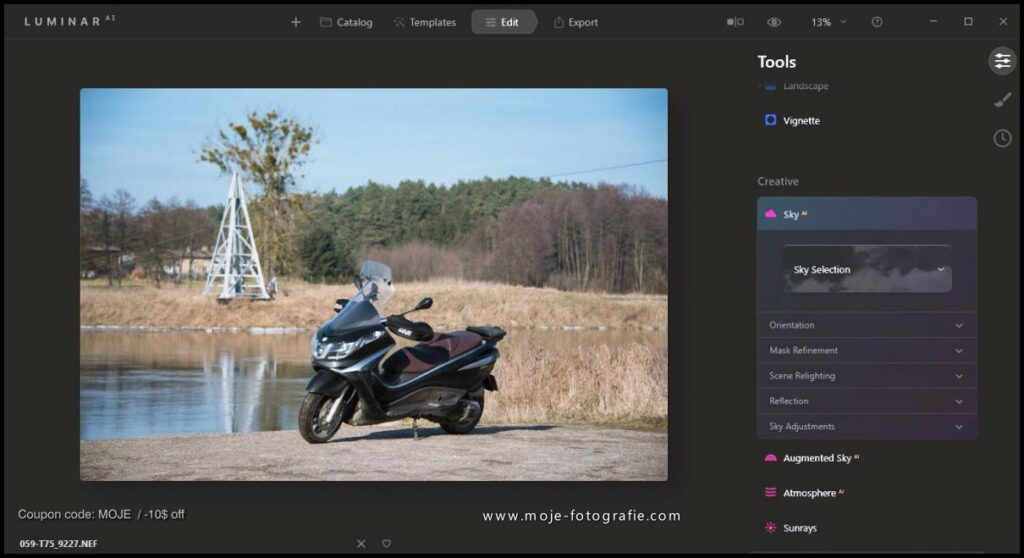 Luminar AI update and Sky AI with water reflections effects - moje-fotografie.com / coupon code MOJE -10$ off